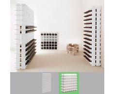Sistema botellero modular PRIMAVINO, máx. 36 botellas, madera de pino, teñido blanco, apilable / ampliable - alt. 75 x anch. 75 x pr. 22 cm