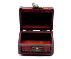 Trendit - Baúl de madera cofre del tesoro, 10 cm