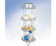 Rayen 2071 - Rinconera de ducha y baño, 4 estantes, 95 x 22 x 22 cm, color gris metalizado