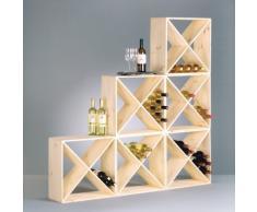 Sistema botellero modular CUBE 48, madera maciza de pino, apilable / ampliable - alt. 48 x anch. 48 x pr. 23,5cm