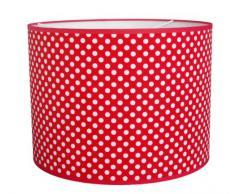 Taftan - Pantalla para lámpara de techo colgante, diseño de lunares (35 cm de diámetro), color rojo