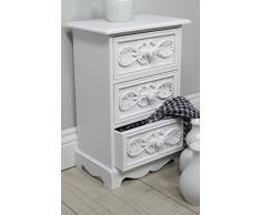 Cómoda pequeño mueble auxiliar 3 cajones blanco antiguo joyas – Cómoda Landhaus Rosali