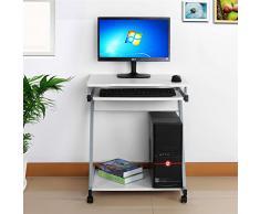 Songmics escritorio de la computadora Blanco Mesa de ordenador en forma de Z Escritorio para hogar o oficina LCD811W