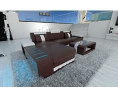 Sofá de piel moderna Bellagio LED en forma de L marrón oscuro/blanco