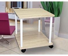 Mesa auxiliar con ruedas, aspecto de madera de roble