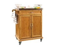 SoBuy Luxus-Carrito de cocina con piso de acero, estantería de cocina, carrito de servir de bambú de alta calidad L60xP45xA90cm, FKW13-N