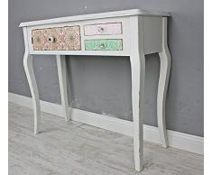 Consola Mesa Auxiliar, color blanco envejecido Multicolor cajones madera maciza Paisley
