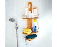 Relaxdays - Estantería de ducha (con 3 estantes, bambú, resistente a la humedad, 2 ganchos, metal cromado), color marrón