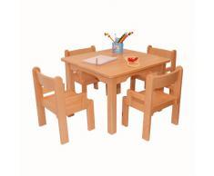 Muebles Para Niños de Madera de La Haya Sólida Natural Barnizada,Una Mesa y Cuatro Sillas Con Apoyabrazos Para Los Niños
