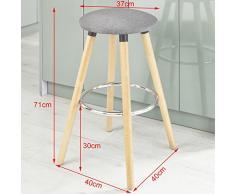 SoBuy® Taburete de bar con patas de madera de haya natural, FST39-HG, ES