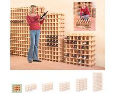 Sistema Botellero modular PRIMAVINO, máx. 9 botellas, pino natural, apilable / ampliable - alt. 32,5 x anch. 42 x pr. 22 cm