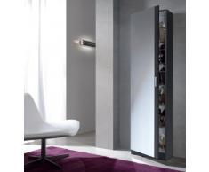 Habitdesign, Kristal 007866G - Armario zapatero con espejo, color Gris Ceniza, medidas: 180 x 50 x 20 cm de fondo