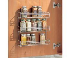 mDesign especiero con 3 niveles - Estante para especias idóneo como organizador de condimentos o salsas - De metal cromado
