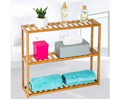 TecTake Estantería de madera bambú con 3 niveles 60x15x54,5cm