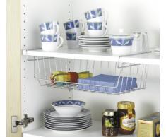 WENKO 2304100 Cesto organizador armario cocina - einfach einhängen, Metal cromado, 44 x 27 x 15 cm, Plata brillante