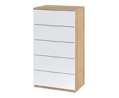 Habitdesign 017845F Cómoda 5 cajones, chifonier Modelo Alaya, Acabado en Color Roble Canadian y Blanco Artik, 60 cm (Ancho) x 110 cm (Alto) x 40 cm (Fondo)
