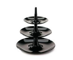 Koziol Babell- Frutero de 3 pisos, desmontable, 19,8 x 19,8 x 22 cm, Negro Sólido
