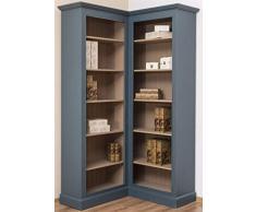 Casa Padrino gabinete esquinero de Estilo campestre Azul/Beige 102 x 102 x A. 210 cm - Armario de Libros de Madera Maciza - Muebles de Salón de Estilo Campestre