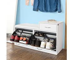 SoBuy® Armario zapatero, Taburete, puff caja, banco, estantería para zapatos ,Chifonier, blanco, FSR17-W,ES