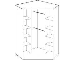 Estante con 2 puertas con espejo 2 puertas y 8 - Armario de esquina acabado nogal y negro brillante - 8 Estante Y Barra para colgar estante del medio - Empaquetado plano para montar......