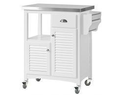 SoBuy® Carrito de cocina con piso de acero, estantería de cocina, carrito de servir de alta calidad, FKW37-W, ES
