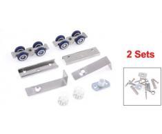 2 piezas azul de plata pieperconcept juego de rodillos armario puerta corredera