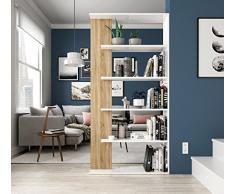 Habitdesign 0F2252A - Estantería 5 baldas, Librería Comedor Salon, Color Blanco Artik y Roble Canadian, Modelo Alida, Medidas: 90 cm (Largo) x 180 cm (Alto) x 25 cm (Fondo)