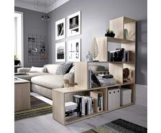 Mobelcenter - Estantería Color Madera Natural diseño Escalera - Medidas: Ancho: 145 cm. x Fondo: 29 cm. x Alto: 145 cm. (1024)