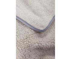 Manta de 100% Pura Lana Merina Gris Manta 160 x 200 cm Cálido y Natural Certificada por Woolmark. Muy Suave y Confortable.