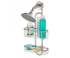 iDesign Estantería colgante para ducha, pequeña cesta de ducha para colgar de acero, organizador de ducha con dos estantes para champú y gel, plateado
