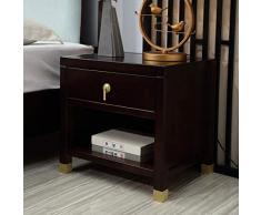 Huahua Furniture Mesita de Noche, Nuevo gabinete de la Esquina del gabinete del Nuevo Dormitorio Chino de la mesita de Noche de Madera sólida, 520 * 440 * 520 milímetro