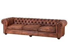 Casa Padrino aficionado 3 asientos sofá marrón tabaco 280 x 94 x H. 70 cm - de lujo sofá de cuero real
