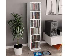 UnfadeMemory Estante Madera de CD DVD,Estante de Exhibición,6 Compartimentos Abiertos,Madera Aglomerada,21x16x88cm (Blanco)