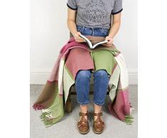 Block Check – – pura lana virgen rodilla alfombra manta – Apple verde y frambuesa, color rosa – fabricado en Reino Unido por Tweedmill