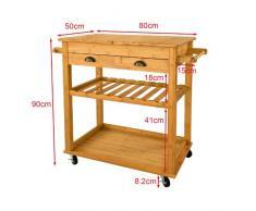 Carrito de servir XXL de bambú de alta calidad, carrito de cocina, estantería de cocina, L80xP50xA90cm, FKW08-N
