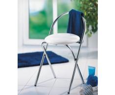 Wenko 16633100 Salerno - Taburete plegable con respaldo, tapizado y cromo (38 x 63 x 43 cm), color blanco