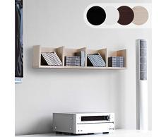 NOVA - Estantería Porta CD DVD - Apto para 80 CD, 4 estantes, 17 x 92 x 16,5 cm, de Madera, Librería, Estante CD de Pared, Mueble DVD