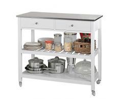 SoBuy® Carrito de servir, estantería de cocina, carrito de cocina móvil,FKW47-W,ES