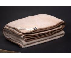 O cama de matrimonio marrón lana de MERINO de manta para cama de matrimonio 200 x 200 cm