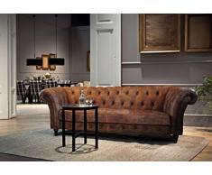 LuxuryLeather3 Lujo Churchill 2,5, 3 plazas Sofá Cama de Piel de Estilo Chesterfield, geanium