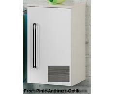 35,5 x 59 cm Armario Color (estructura): Blanco Brillante, color (frontal): pino Antracita