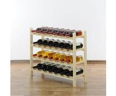 Botellero para vinos FORASTERA, madera de pino natural, para 28 botellas, apilable / ampliable - ALT 64 x ANCH 74,7 x PR 26,5 cm