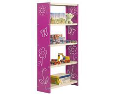 Estantería Metálica infantil, Kit Habitat Toy Mini 5/300 rosa/blanco, 1600x600x300, 5 estantes, Simonrack