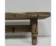Estante colgante de pared con ganchos tradicionales - Material de madera - casa decoración para colgar, madera, marrón, 13x60cm