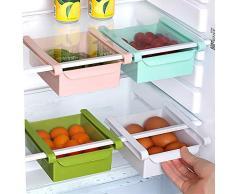 Nevera Organizador Cesta - Cajón Deslizante de Nevera Organizador de Refrigerador Contenedor de Comida Estante de Almacenamiento del Refrigerador 1 pieza (Azul)