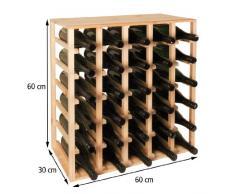 Sistema botellero QUADRI, madera maciza de pino natural, apilable / ampliable - alt. 60 x anch. 60 x pr. 30 cm