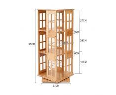 Estanterías de almacenamiento Estantería Moderna Simple De 3 Capas Del Estudiante Estantería Giratoria De Bambú 360º Estantería Creativa Del Piso