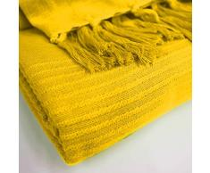 Le Jardin Des Cigales Lana – Manta de sofá (a Flecos algodón Tisse 150 x 150 cm, algodón, Amarillo, 150x0.5x150 cm