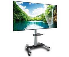 """Maclean MC-620 - Soporte de pie con ruedas para pantalla LCD LED TV (37-70"""", 55kg, VESA) Con estantería para DVD"""