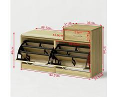 SoBuy® Armario zapatero, Taburete, puff caja, banco, estantería para zapatos ,Chifonier,FSR17-N,ES
